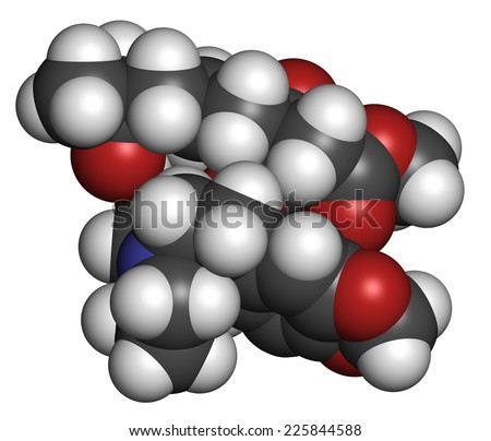 Omacetaxine mepesuccinate cancer drug molecule. Used in treatment of chronic myelogenous leukemia (CML). Atoms are represented as spheres with conventional color coding: hydrogen (white), etc - stock photo
