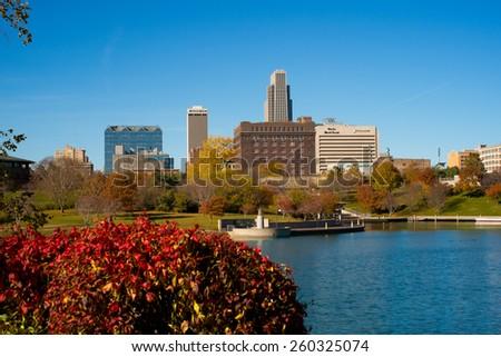 OMAHA, NE - Omaha's skyline is seen from Heartland of America Park December 9, 2013. - stock photo