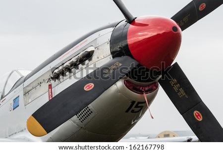 """OMAKA-APRIL 03:American P51 Mustang aircraft on the display at royal New Zealand air force """"Omaka airshow"""" on April 03, 2013 in Blenheim New Zealand - stock photo"""