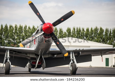 "OMAKA-APRIL 03:American P-51 Mustang aircraft on the display during the royal New Zealand air force ""Omaka airshow"" on April 03, 2013 in Blenheim New Zealand - stock photo"