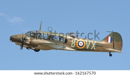"""OMAKA-APRIL 03:Avro Anson aircraft in flight during the royal New Zealand air force """"Omaka airshow"""" on April 03, 2013 in Blenheim New Zealand - stock photo"""