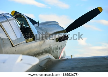 """OMAKA-APRIL 03:Curtiss P-40 Kittyhawk aircraft on the display during the royal New Zealand air force """"Omaka airshow"""" on April 03, 2013 in Blenheim New Zealand - stock photo"""