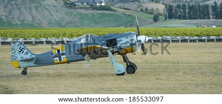 "OMAKA-APRIL 03:German Fockewulf FW190 aircraft in flight during the royal New Zealand air force ""Omaka airshow"" on April 03, 2013 in Blenheim New Zealand"
