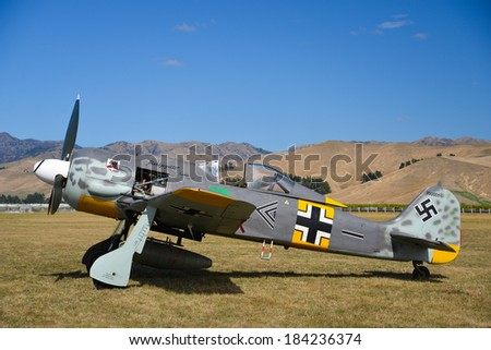 """OMAKA-APRIL 03:German Fockewulf FW190 aircraft on the display during the royal New Zealand air force """"Omaka airshow"""" on April 03, 2013 in Blenheim New Zealand - stock photo"""