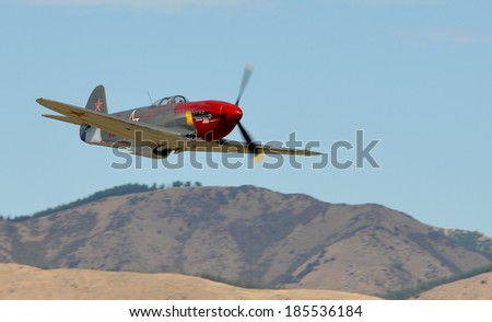 """OMAKA-APRIL 03:Rissian YAK3 aircraft in flight during the royal New Zealand air force """"Oamak airshow"""" on April 03, 2013 in Blenheim New Zealand - stock photo"""