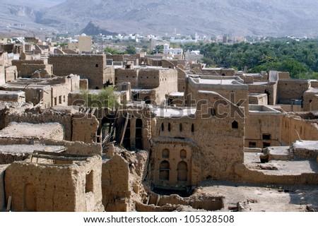 Oman. Al Hamra Yemen Village in Oman in the Middle East. - stock photo
