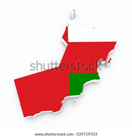 Oman flag on 3d map