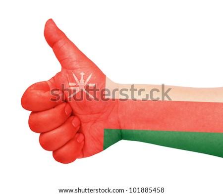 Oman flag on thumb up gesture like icon - stock photo