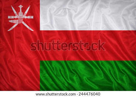 Oman flag pattern on the fabric texture ,vintage style - stock photo