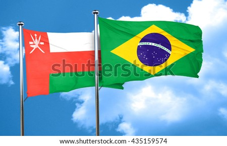 Oman flag with Brazil flag, 3D rendering