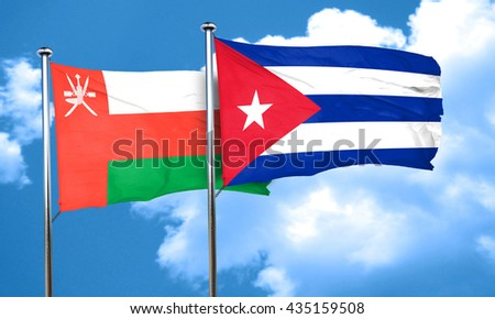 Oman flag with cuba flag, 3D rendering