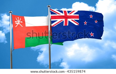 Oman flag with New Zealand flag, 3D rendering