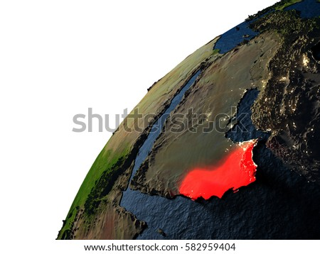 Oman highlighted in red on planet Earth with visible city lights. 3D illustration with detailed planet surface. Elements of this image furnished by NASA.