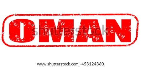 oman red stamp on white background.