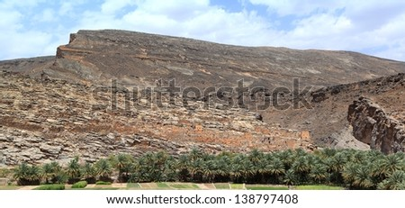 Omani Mountain Village and Valley Agriculture - stock photo