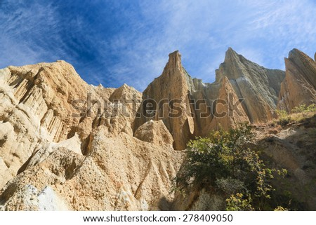 Omarama Clay Cliffs, Scenic Reserve,  New Zealand.  - stock photo
