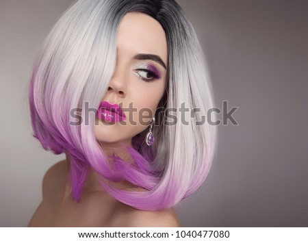 Ombre Bob Blonde Short Hairstyle Purple Stock Photo Safe To Use