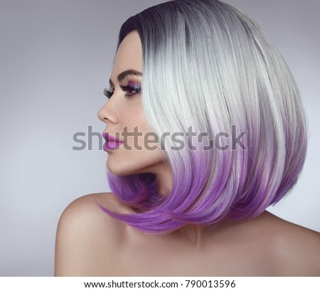 Ombre Bob Hair Coloring Woman Beauty Stock Photo (Royalty Free ...