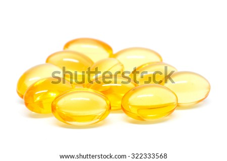 Omega 3 capsules for dieting concept on white background - stock photo
