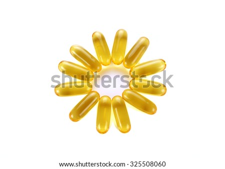 Omega 3 capsules from Fish Oil on white background - stock photo