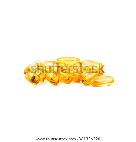 omega 3 capsules - isolated on white background - stock photo