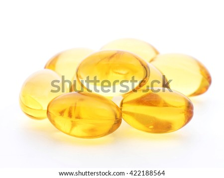 Omega 3 soft gel capsules on white background