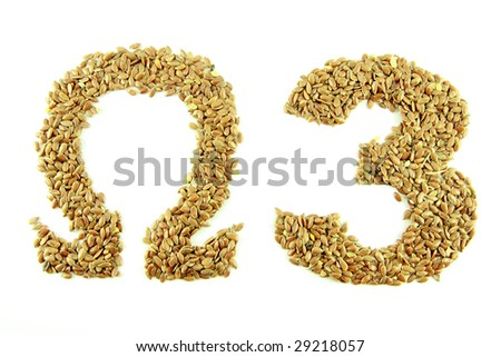 Omega 3 text, brown linseed - stock photo