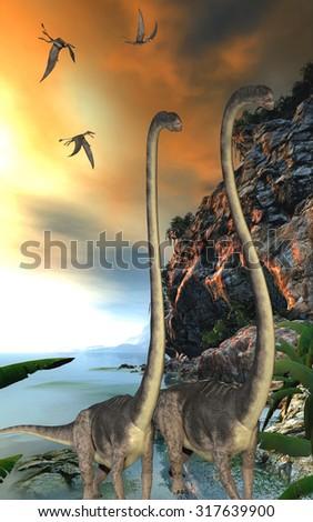 Omeisaurus Dinosaurs - Dorygnathus dinosaur reptiles fly over two Omeisaurus dinosaurs walking along a steep cliff. - stock photo