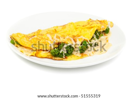 omelet with cheese and broccoli on a white plate isolated on white