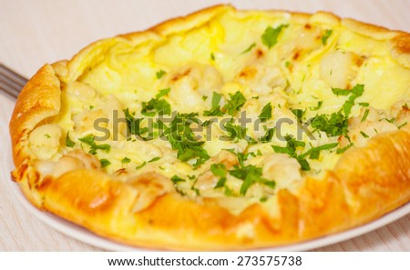 omelet with cheese and cauliflower on a white plate - stock photo