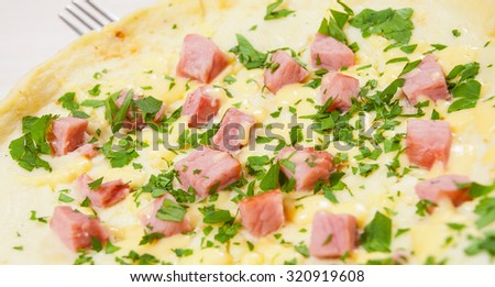 omelet with ham and cheese - stock photo