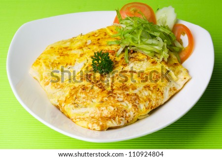 omelet with rice and fish sauce spicy.thai food. - stock photo