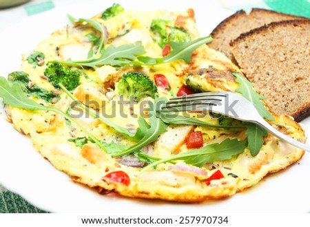 Omelette. Breakfast - stock photo