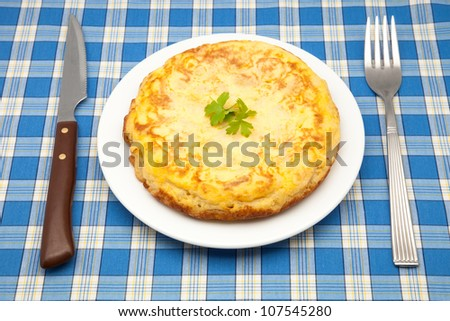 omelette of potato ready to eat