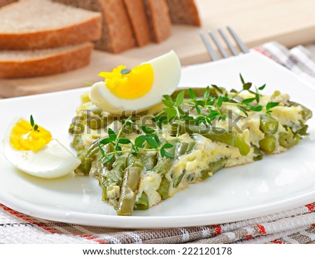 Omelette with green bean - stock photo