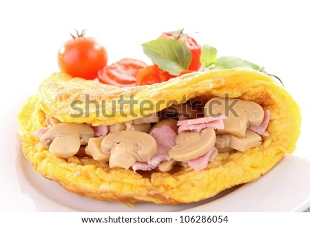 omelette with mushroom - stock photo