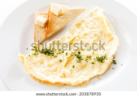 omelette with toast - stock photo