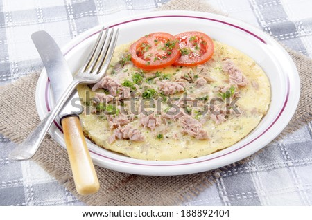 omelette with tuna, tomato and parsley on a plate - stock photo