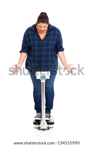 OMG! overweight woman got shocked when standing on scale weighting herself - stock photo