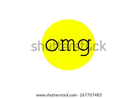Omg sign illustration in a bright yellow circular bubble shape, isolated on white background.