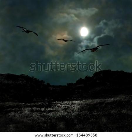 Ominous dark night in the dim moonlight on Halloween - stock photo