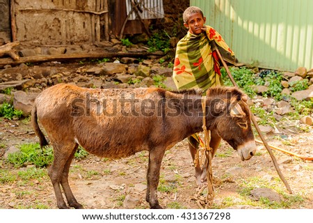 OMO, ETHIOPIA - SEPTEMBER 19, 2011: Unidentified Ethiopian boy and a donkey. People in Ethiopia suffer of poverty due to the unstable situation - stock photo