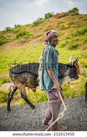 OMO, ETHIOPIA - SEPTEMBER 21, 2011: Unidentified Ethiopian man with a cow. People in Ethiopia suffer of poverty due to the unstable situation