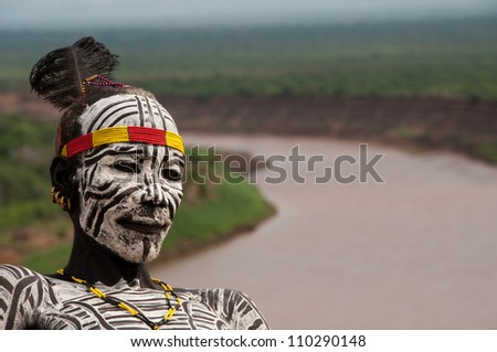 VALLEY-JAN 25:Unidentified Karo Man with Omo River in the background ...