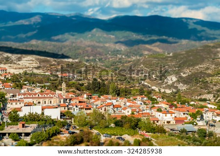 Omodos, traditional village in the Troodos Mountains. Limassol District, Cyprus. - stock photo