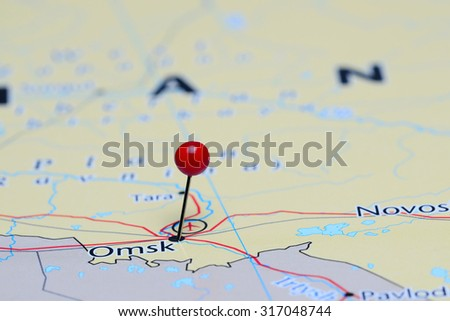 Omsk pinned on a map of Asia