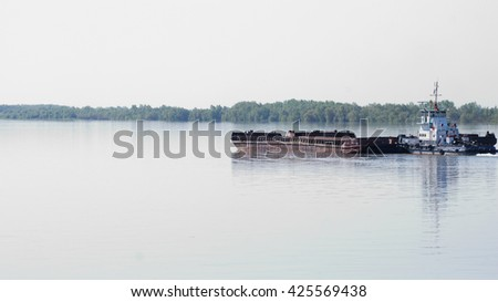 Omsk region, Russia - May 22: Most of the water on the Irtysh river, Omsk region, Siberia, Russia