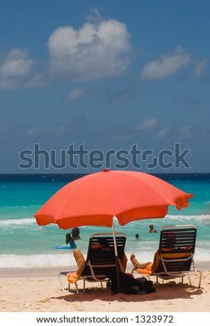 On A Barbados Beach - stock photo