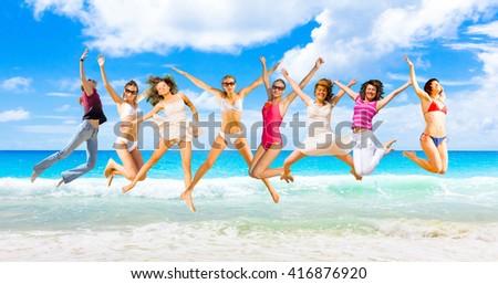 On a Beach Jumping Wild  - stock photo