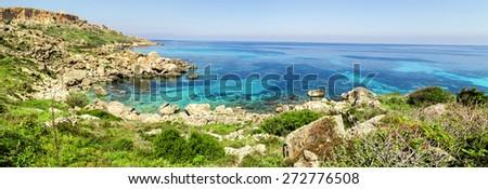 On a beautiful sunny day. Gozo Island, Malta.beach on Malta - Gozo - stock photo